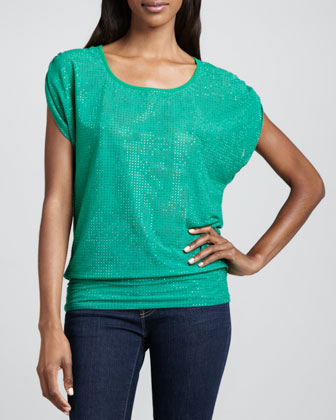 Grid Banded Double-Mesh Top