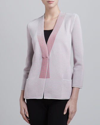 Tonal Ribbed Knit Jacket, Cayenne