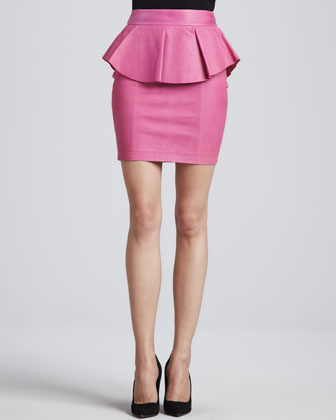 Gigi Leather Peplum Skirt, Pink