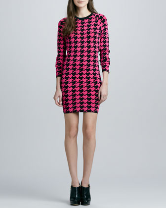 Michaela Neon Houndstooth Dress