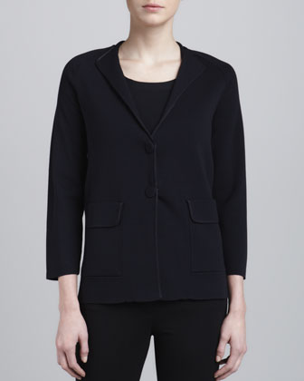 Two-Button Knit Jacket, Perse