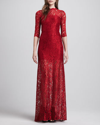 Solange Lace-Overlay Dress, Deep Red