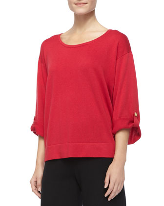 Silk Cashmere Pullover Top & Knit Wide-Leg Pants