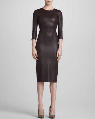 Bechet Formfitting Leather Dress