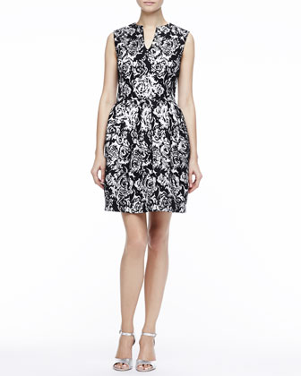 Printed Split-Neck Dress