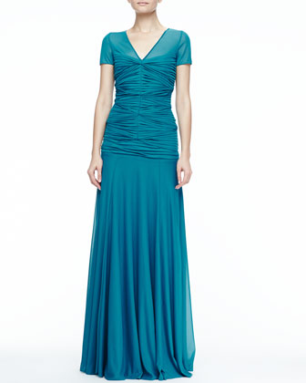 Gathered-Bodice Jersey Gown