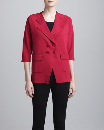 Snap-Front Double-Breasted Jacket, Raspberry