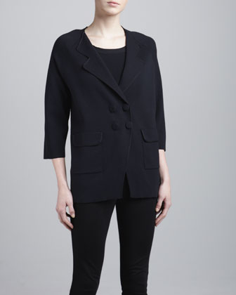 Snap-Front Double-Breasted Jacket, Perse
