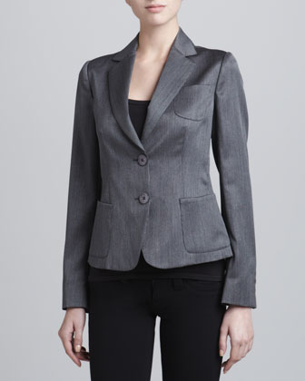 Two-Button Wool-Blend Jacket, Steel