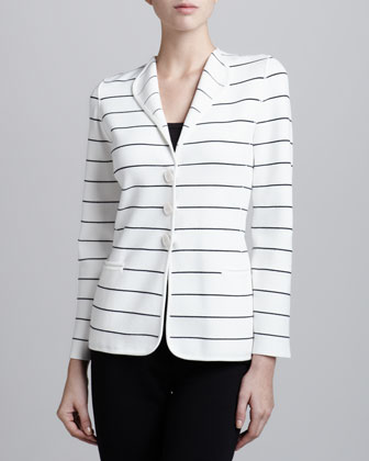 Striped Three-Button Cardigan