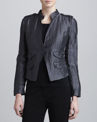 Crinkle Linen Jacket, Granite