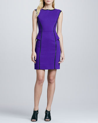 Pipe-Trim Peplum Dress
