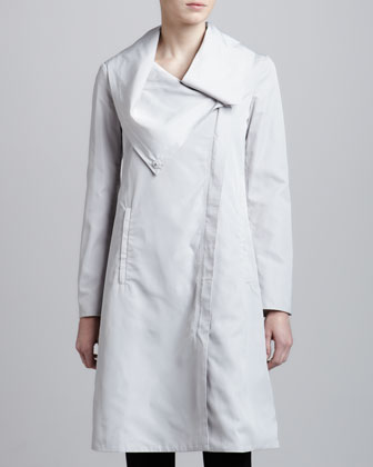 Asymmetric Long A-Line Coat, Platinum