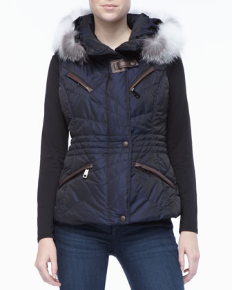 Navy Apres-Ski Vest with Fur-trimmed Hood