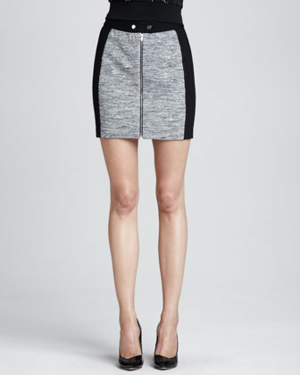 Melange Knit Fitted Skirt