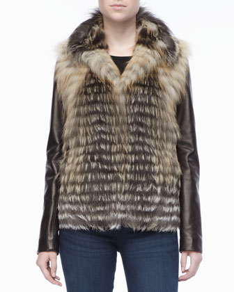 Horizontal Lined Fur Jacket with Leather