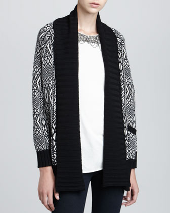 Engineered Fair Isle Long Cardigan