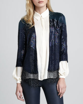 Flapper Fringe-Trim Beaded Jacket
