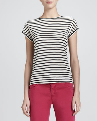 Cap-Sleeve Striped Knit Top, Navy