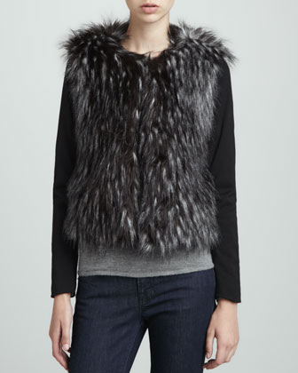 Long-Sleeve Faux-Fur Jacket