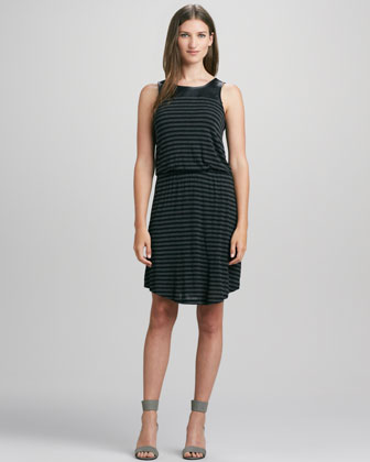 Striped Leather-Top Dress