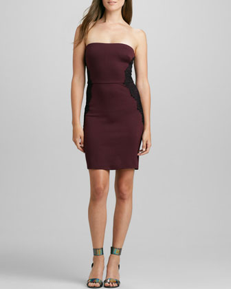 Strapless Lace-Panel Ponte Dress