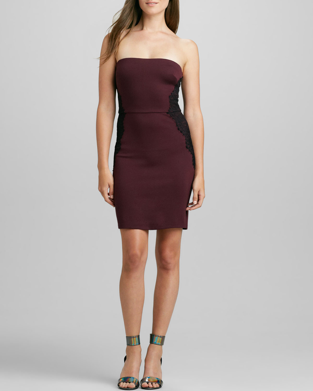 Womens Strapless Lace Panel Ponte Dress   Velvet by Graham & Spencer   Wine