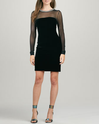 Embellished Velvet Mesh-Panel Dress