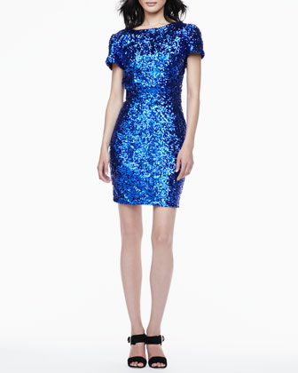 Starlette Short-Sleeve Sequined Dress
