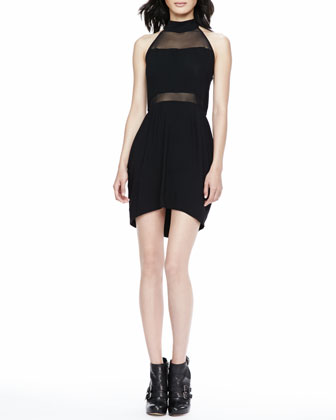 Mesh-Paneled Halter Dress