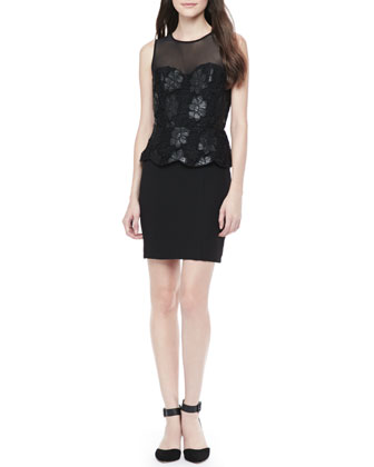 Lace-Top Combo Peplum Dress