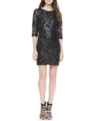 Trixie Embroidered Shift Dress