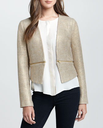 Zip-Waist Tweed Jacket