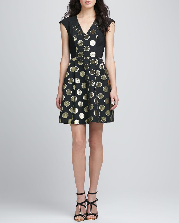 Womens Metallic Dot Jacquard Dress   Plenty   Blk (8)