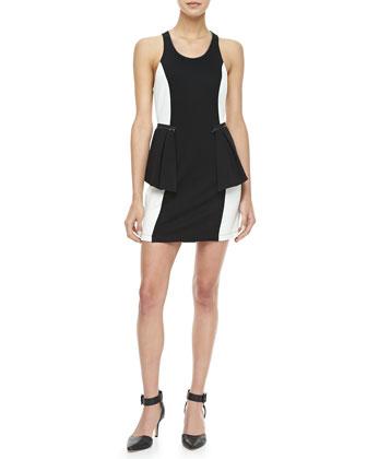 Bicolor Zip-Peplum Dress