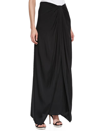 Sarong Stretch Skirt, Black