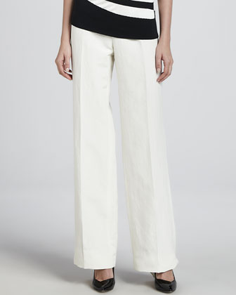 Linen-Blend Wide-Leg Pants, Off White