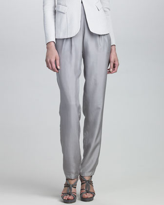 Pleated-Front Silk Pants