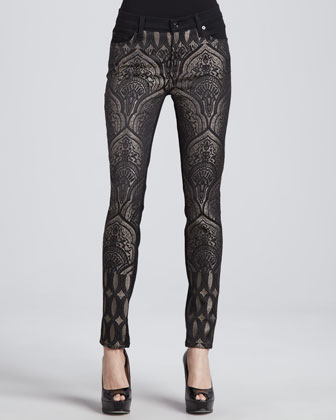 The Pieced Slim Illusion Art Nouveau Jacquard Jeans