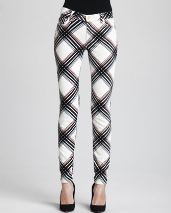 The Skinny Velvet Plaid Pants