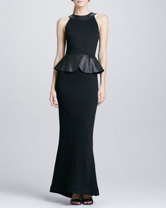 Karen Leather-Peplum Ponte Gown