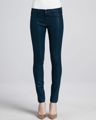 Lacquered Hemlock Low-Rise Coated Jeans