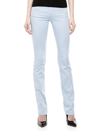 Straight-Leg Stretch Pants, Light Blue