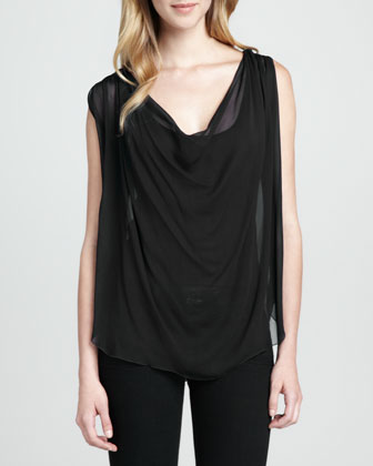 Thora Draped Chiffon Top