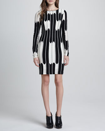 Tabitha Long-Sleeve Wave Dress