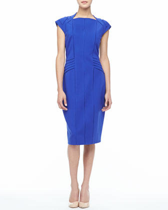 Oralia Piped Sheath Dress, Cobalt