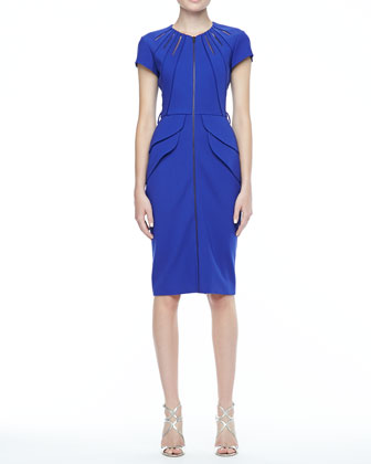 Offisa Zip-Front Peplum Dress, Cobalt
