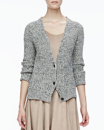 Rib-Trim Knit Cardigan