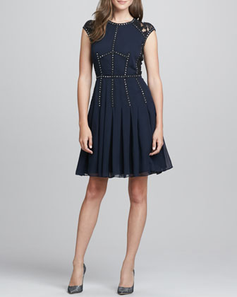Stud-Trim Lace-Back Cocktail Dress