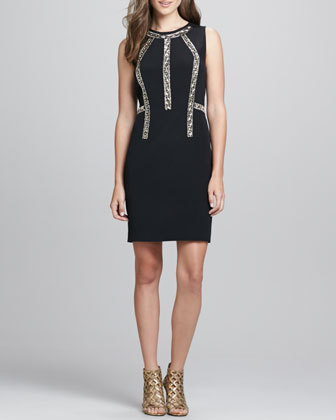 Sleeveless Bead-Inset Cocktail Dress